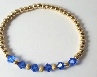 Bracelets-Gold Filled/Stack Bracelets/Beaded Bracelets/Swarovski/Jewelry/Stretch Bracelet/Bead Bracelet/Blue Swarovski/For Her/Christmas