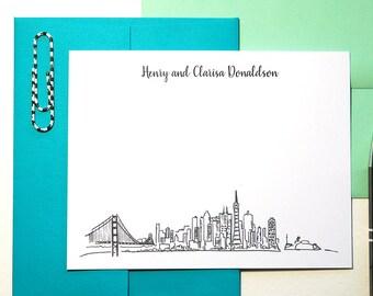 Wedding Thank You Cards, San Francisco Gift, Mens Stationary Set of 12, San Francisco Skyline Art, Personalized Stationery