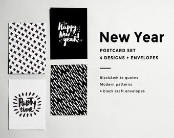 New year (Christmas) black&white minimalistic postcard set (x4+black craft envelopes)