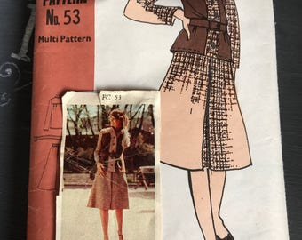 Vintage Skirt Suit Pattern Family Circle 53