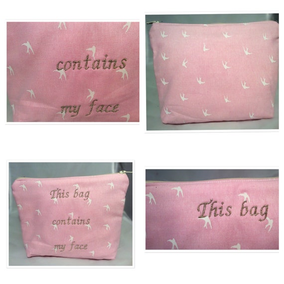 Handmade make up bag with embroidery pink by