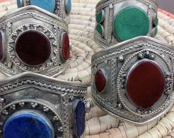 Vintage Afghan Kuchi Cuff Bracelets Lot of 5, Ethnic Tribal Nomad Gypsy Tribal, Nomad Kuchi Jewelry, Bedouin Jewelry