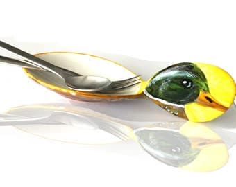 Beautiful Bird Collection,  DUCK: Hand-painted Porcelain Spoon Rest/Trinket Dish