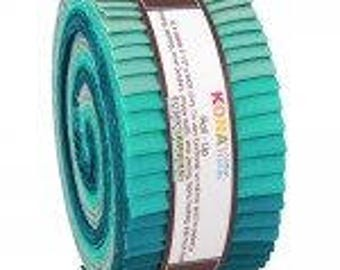 Kona Cotton Solids Roll-Up.  Midnight Oasis Palette Series 40 2 1/2 x width of fabric strips. Dark Blue green aqua teal RU-442-40 Jelly roll