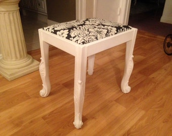 Black and White Upholstered Stool