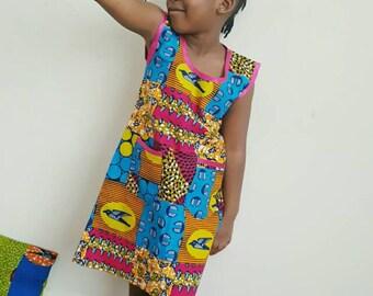 Children African Print Dress / African Print Girls Dress / Toddler Dress/  Ankara Girls Dress