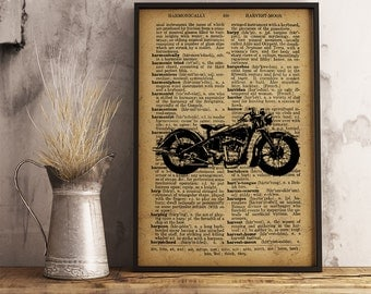 Motorcycle Art Print, Vintage Motorcycle Decor Cave Decor, Garage Wall Art, Gift for him, Gift for mechanic, mechanic gifts (M10)