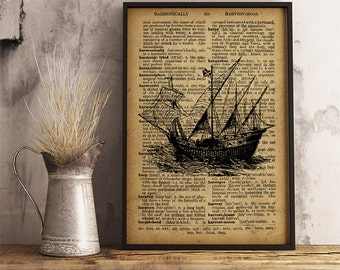 Ship of the early discoverers, Old ship wall art, Vintage style ship print, Cabin decor, Office decor, Old ship poster, Boy room decor (K28)