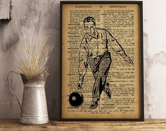 Bowling man print Vintage bowling man Art Poster, Bowling decor,  Bowling wall art, bowling player gift, bowling center decor V14