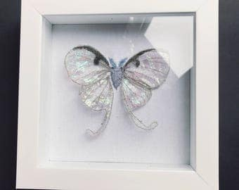 SALE - 64 USD, was 80 USD / Ethereal luna moth spirit embroidery in shadowbox
