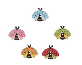 Ladybug shaped wooden button 10