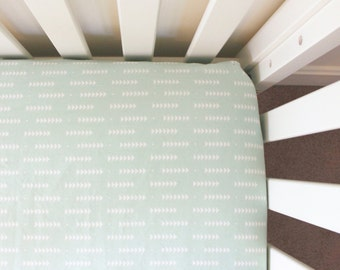 Mint Arrow Fitted Crib Sheet, crib sheet, nursery bedding, baby bedding, mint, arrow, triangle, fitted crib sheet, baby gift, gender neutral