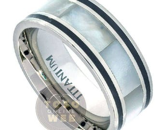 Men's 9mm Pipe-Cut Polished Black Lines Edge Titanium Wedding Band Ring w/ Mother of Pearl Ivory Inlay Center, Comfort Fit Ring Ti4462