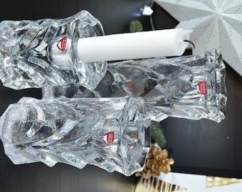 Vintage Swedish Orrefors heavy glass candle holder set of three artichoke design/swedish handmade quality glass / scandinavian glass design