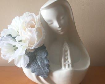 Hull Madonna Head Vase/Planter With Rosary