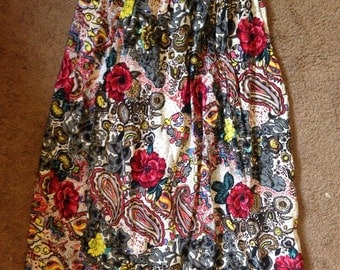 Funky Floral Silk Skirt