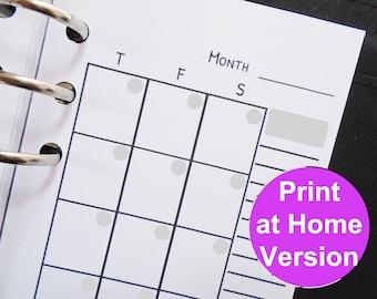 undated calendar - printable personal planner inserts - filofax personal inserts printable planner inserts personal size planner inserts