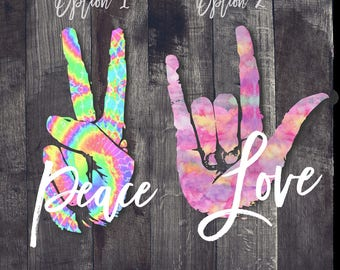 Peace and Love Decal| TieDye Peace Decal| Peace and Love Car Window Decal| Peace and Love Tumbler Decal