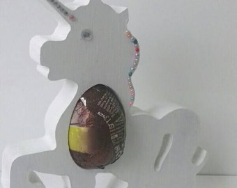Unicorn ornament, easter Egg holder, embellished Unicorn, freestanding Unicorn ornament, chocolate holder, Unicorn keepsake