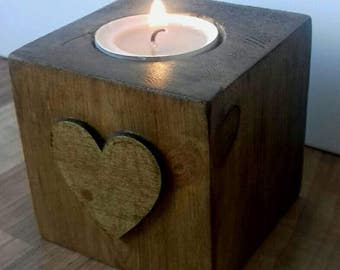 Rustic tealight holder, wooden tealight holder, heart candle holder, new home gift, couples gift, Rustic home gift, wooden home decor, home