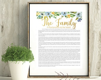 LDS Family Proclamation, LDS Wall Art, Printable, Instant Download, LDS green blue gold art, Watercolor flowers,  Family, 8x10, 11x14