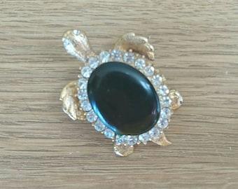Vintage Brooch Turtle Pin Faux Onyx Diamond Rhinestone Gold Tone Costume Jewellery Animal Brooch Jewelry Dress Clip Pin