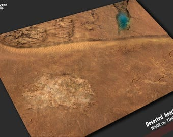 Battle mat: Deserted Heart - desert terrain for 28mm scale miniature wargames - Warhammer, Hordes, Warmachine, Infinity, Malifaux 36x36 3x3
