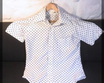 Shirt Vintage Retro design polka dot sleeves short