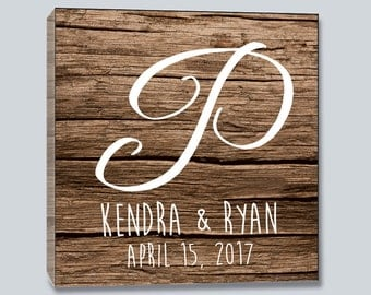 Personalized Monogram Gallery Wrapped Wall Canvas- Wood Background- White Text