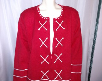 50% OFF Size XL Womens Cardigan/Red Knitted Cardigan /Red Sweater with Zipper/90's Knitted Cotton Sweater/Storybook Knit Cardigan/Nr,252