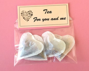 Tea for Two Heart shaped tea bags 2 HIBISCUS & 2 Earl Grey and ROSE , Love gift, Gift for women, Girlfriend gift, Handmade