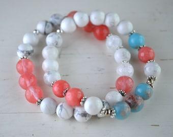 Bracelets WILL - Made of stone, Howlite, Sea sediment & Jade rose