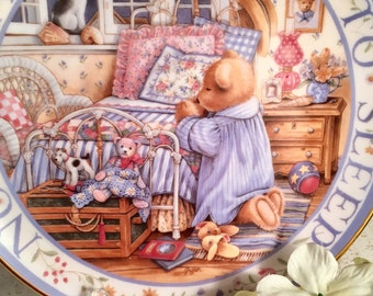 Franklin Mint Royal Doulton Teddy Bear Says His Prayers Collector's Plate in  Fine Bone China