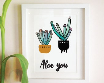 valentines card. aloe you. a4 limited print