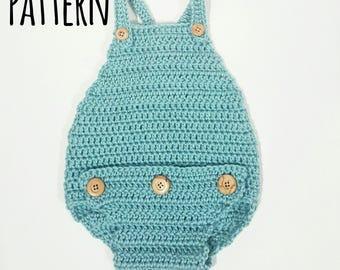 Baby Romper Crochet Pattern Size 0-3 Months