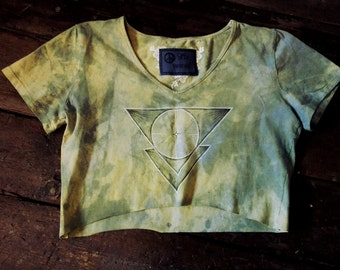 Unique light green hand dyed & decorated triangle print top size XS-M, loose fit