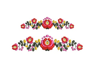 Folk Floral Border Machine Embroidery Design. 2 sizes. Instant download