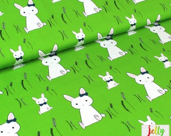 ORGANIC Cotton Knit Fabric - Bunnies in Green by Wcollection - UK Seller