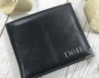 Black Leather Wallet Monogram Personalised For The Groom Wedding Gift