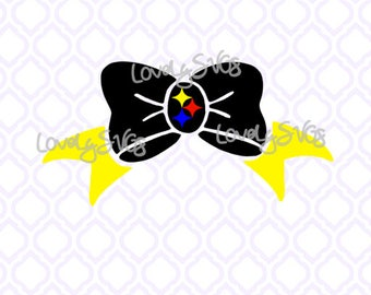 Football Steelers Pittsburgh Bow Download - Instant File - Studio3 & SVG File - Silhouette Cricut File
