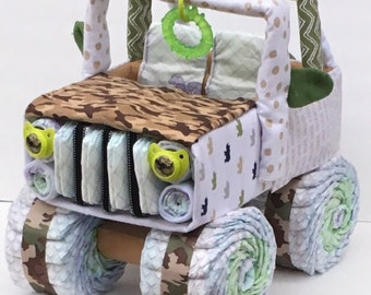 Camo Baby Diaper Jeep, Camo Baby Shower, Diaper Cake Centerpiece, Unique  Baby Gift