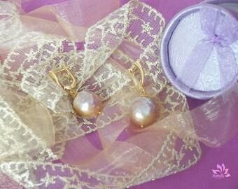 Elegant Golden Lavender Baroque Kasumi Pearl Earrings, Baroque Earrings, Gold Earrings, Dangle Earrings, Pearl Earrings, Small Earrings