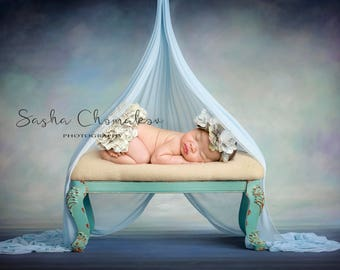 Digital backdrop background newborn baby boy or girl blue couch chair