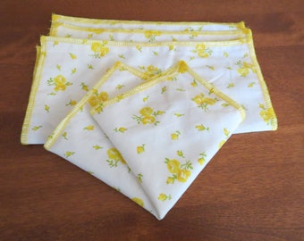 Upcycled Napkins / Hankerchief / Set of 4 / Zero Waste / Reusable Napkins / Cloth Napkins / Reusable Tissue / Vintage / Yellow Flowers