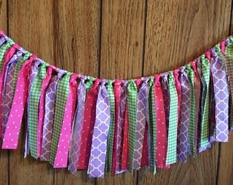 Custom-Rag garland-birthday-fabric-high chair tutu-any color pattern