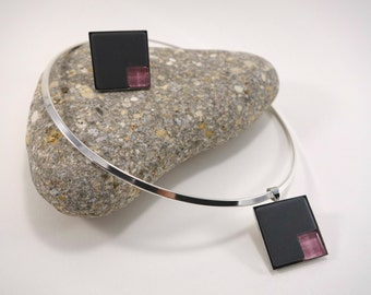 Set ras neck collar and ring square silver metal in Briare emau matte and glittery glass micro-tesselle rose