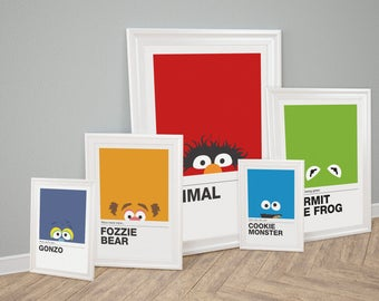 The Muppet Show, Pantone Inspired Set of 5 Canvas Look Prints, Home Decor, Cookie Monster, Kermit, Fozzie, Gonzo, Animal, Muppets Characters