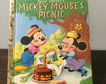 "1950 Mickey Mouse's Picnic A Little Golden Book ""A"" Edition Walt Disney"