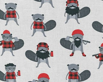 Burly Beavers in Steel ~ Burly Beaver by Andie Hanna for Robert Kaufman Fabric ~ Weave & Woven