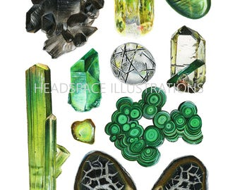 Green Glory Minerals - Colored Pencil Art Print by Headspace Illustrations